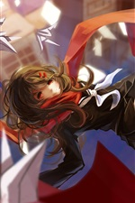 Preview iPhone wallpaper Anime girl flight, scarf, city, origami