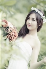 Preview iPhone wallpaper Asian girl, flowers, wreath