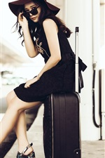 Preview iPhone wallpaper Asian girl, sunglass, suitcase, roadside