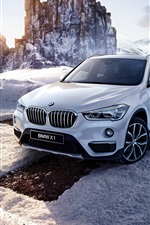 Preview iPhone wallpaper BMW X1 F48 white car, winter, snow