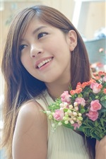Preview iPhone wallpaper Beautiful Asian girl, holding flowers