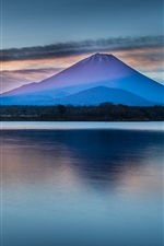 Preview iPhone wallpaper Beautiful Japan nature scenery, Mount Fuji, lake, clouds, dawn