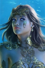 Preview iPhone wallpaper Beautiful fantasy girl, underwater, spear, crystal, jewelry