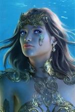 미리보기 iPhone 배경 화면 아름다운 판타지 소녀, 수중, 창, 크리스탈, 보석