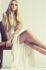 Preview iPhone wallpaper Beautiful girl, blonde, long dress, sitting at chair, legs