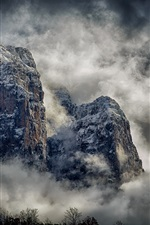 Preview iPhone wallpaper Beautiful landscape, mountains, cliff, trees, clouds, fog