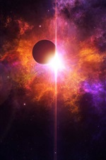 Preview iPhone wallpaper Beautiful space, planets, red and purple light, stars