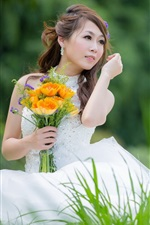 Beautiful white dress girl, Asian, bride, flowers, grass