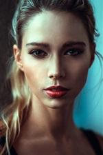 Preview iPhone wallpaper Blonde girl, makeup, portrait, red lip