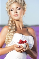 Preview iPhone wallpaper Blonde girl, white dress, hands, red raspberry