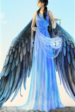 Preview iPhone wallpaper Blue dress angel, wings, lantern, cat, Joya Filomena art design