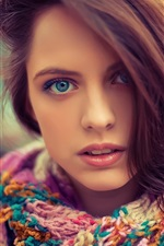 Preview iPhone wallpaper Blue eyes beautiful girl, face, hair, sweater