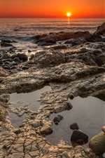 Preview iPhone wallpaper Chemical Beach, Seaham, rocks, coast, sea, sunrise, England