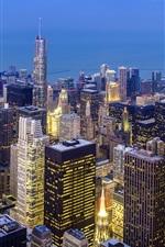 iPhone fondos de pantalla Chicago vista a la ciudad superior, Illinois, EE.UU., por la noche, los rascacielos, luces