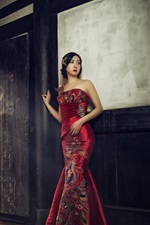 Preview iPhone wallpaper Chinese girl, beautiful cheongsam