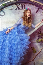 Preview iPhone wallpaper Creative pictures, blue dress girl, big watch