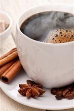 Preview iPhone wallpaper Cup, coffee, cinnamon, sugar