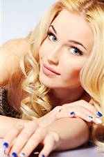 Preview iPhone wallpaper Fashion blonde girl, look, smile