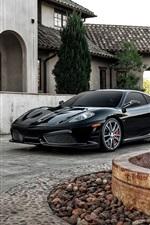 Preview iPhone wallpaper Ferrari F430 black supercar, house, fountain