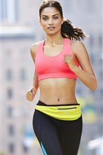 Preview iPhone wallpaper Fitness girl, running, sportswear, city