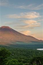 Preview iPhone wallpaper Fuji mountain, Japan, trees, clouds, lake, dusk