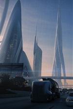Zukünftige Stadt, Kunst-Design, Verkehr, Straßen, Autos, Wolkenkratzer