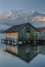 Preview iPhone wallpaper Germany, Bavaria, wood house, lake, mountains, morning, fog