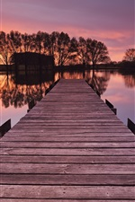 Germany, Bayern, bride, river, trees, pier, trees, sunset, red sky