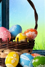 Preview iPhone wallpaper Happy Easter, colorful eggs, basket, tulips, flowers