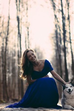 Preview iPhone wallpaper Happy girl, blue dress, dog, trees