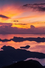 Preview iPhone wallpaper Hong Kong, China, morning, sea, coast, red sky, clouds, sunrise