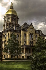 Preview iPhone wallpaper Indiana, Notre Dame University, USA, trees, clouds, dusk