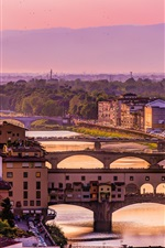 Preview iPhone wallpaper Italy, Florence, Arno river, bridge, houses, dusk