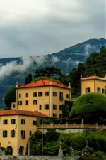 Preview iPhone wallpaper Italy, Villa Balbianello, coast, mountains, trees, house