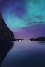 Preview iPhone wallpaper Lake Bannalp, Switzerland, night, stars, Northern lights