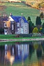 Lake, house, slope, trees, autumn, sunshine
