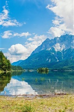 Preview iPhone wallpaper Lake, mountains, sky, white clouds, grass, trees, water reflection