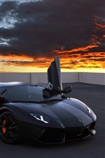 Lamborghini Aventador supercar, rooftop, red sky, clouds