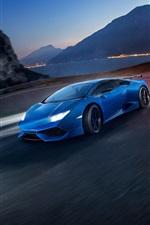 iPhone fondos de pantalla Lamborghini Huracán velocidad azul superdeportivo, noche