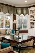 Living room, curtains, windows, TV, sofa, table