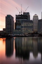 Preview iPhone wallpaper London, England, Canary wharf, boats, sunset, buildings