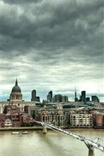 Preview iPhone wallpaper London, England, Millennium Bridge, river, houses, clouds, dusk