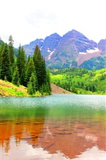 Preview iPhone wallpaper Maroon Bells, Colorado, USA, lake, mountains, trees