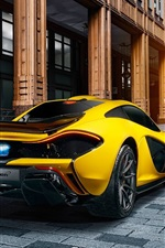 Preview iPhone wallpaper McLaren P1 yellow supercar rear view, city
