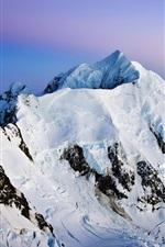 Mountains, snow, dusk
