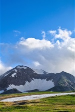 Preview iPhone wallpaper Mountains, snow, grass, beautiful highlands, clouds, blue sky