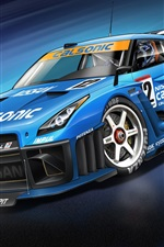 Nissan GT-R blue supercar, race car, cool