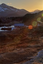 Preview iPhone wallpaper Norway, village, houses, river, mountains, morning, sun rays, glare