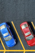Preview iPhone wallpaper Parking area top view, pavement, yellow lines, yellow red blue cars