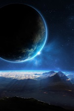Preview iPhone wallpaper Planet, space, sci fi, light, mountains